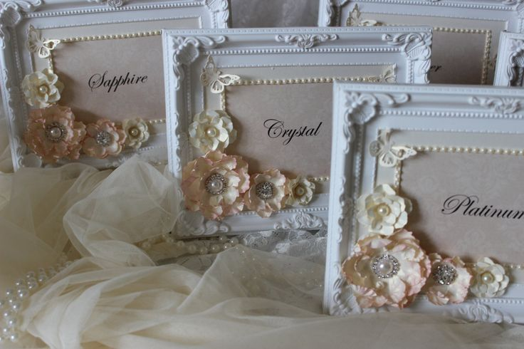 Blush pink and cream table numbers, table names , framed table numbers 7x5 white ornate frame, table cards, wedding stationery by Laceylolas on Etsy