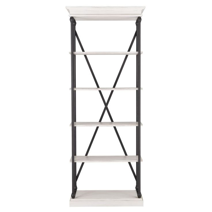 Balance on-trendy, loft-worthy appeal and understated, transitional style in any space with this openwork etagere bookcase, the perfect stage for any display. Featuring four tiers of poplar wood shelving and a powder-coated metal cube frame, this design offers a chic touch to your ensemble. Try adding it next to a button-tufted headboard in the master suite as a bold nightstand alternative. Stock up the lower shelves with vintage-inspired alarm clocks and stacked books from this month's…