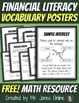 5-12 FREE lifelong tool for your students! Financial Literacy is an important topic that is often looked over by math teachers and curriculum specialists. Use these nine informative posters in your classroom to boost student knowledge and responsibility with finances!For the rest of my Middle School Math Vocabulary Posters, please click HERE!*Make sure to FOLLOW ME for more great products and freebies!*Vocabulary posters in this set include:- Disc...