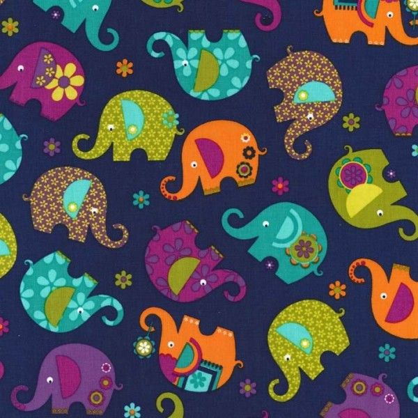 Tissu Elephant Romp Midnight x 10cm