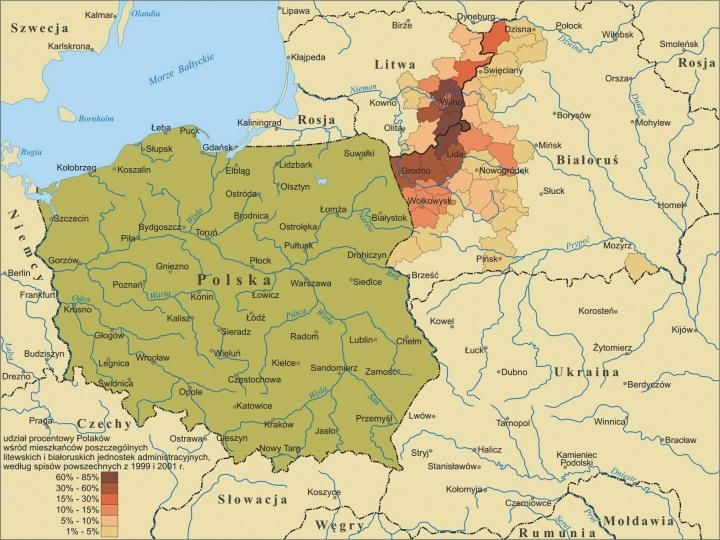 Percentage of ethnic Poles in Lithuania and Belarus