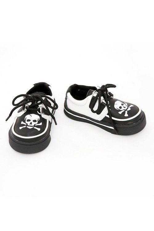 Black & White Skull Leather Creeper punk goth baby sneaker