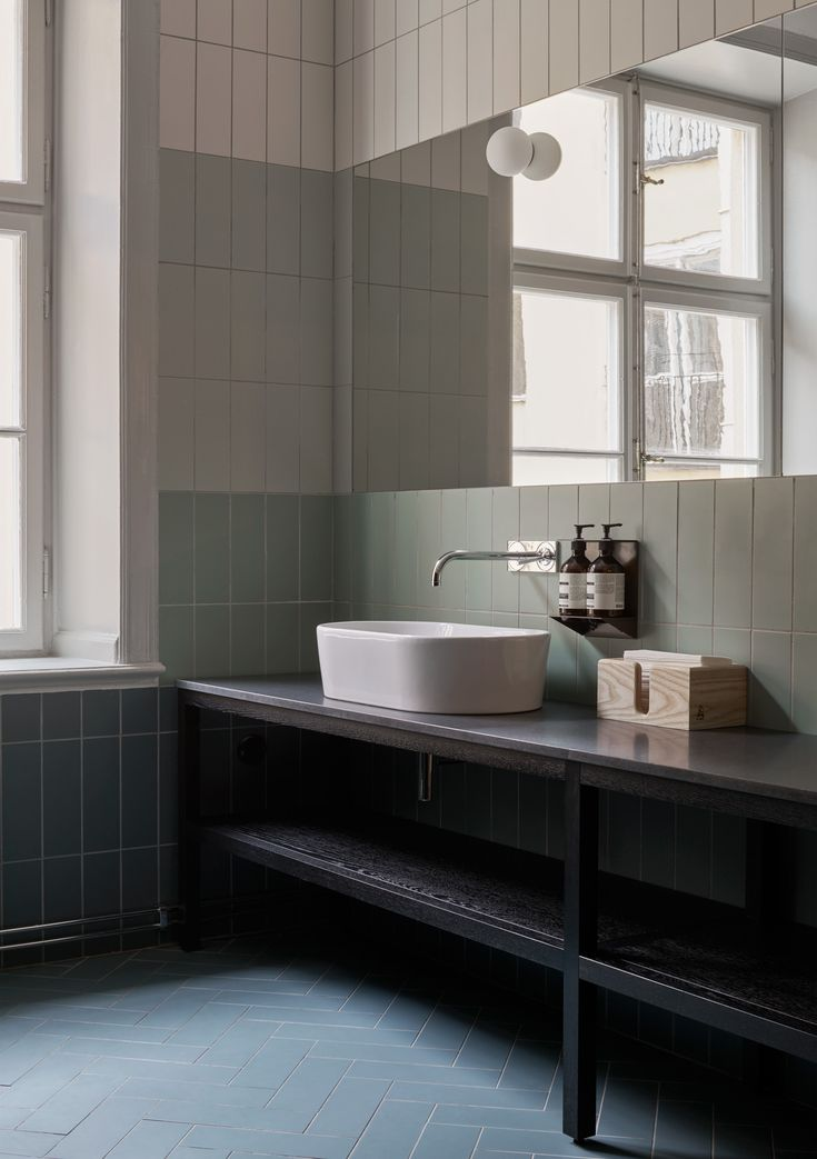 Beautiful simple tile combination.  #bathroom   Alma Creative Club
