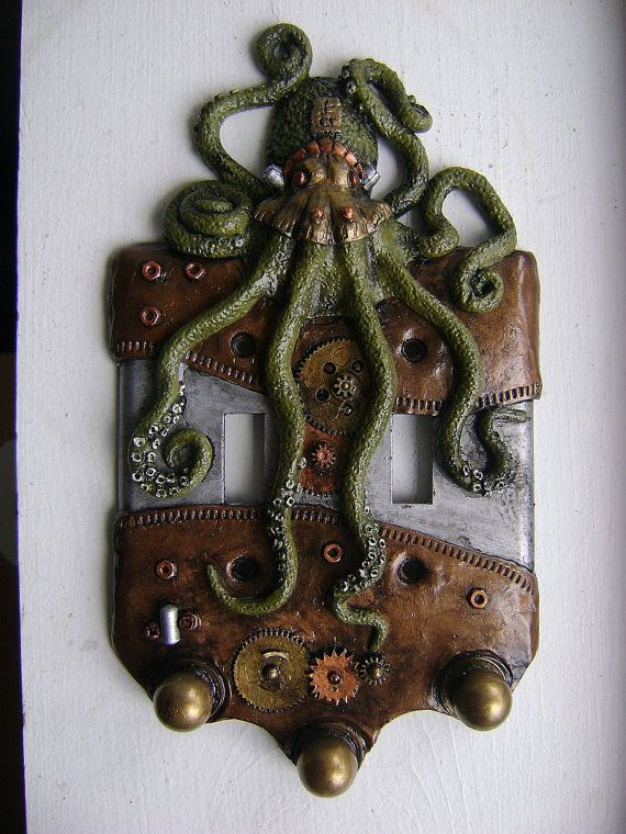 Green Steampunk Octopus Double Light Switch Cover Key Chain Holders. Animal Wall Art Sculpture Wall Decor Decorative Arts