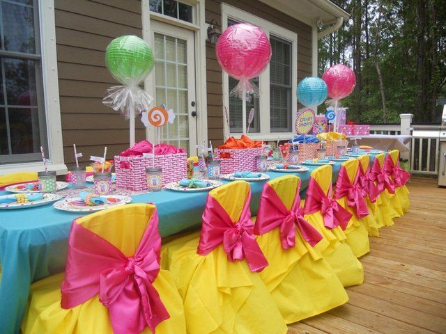 Decorated table at a Sweet Shoppe Party #sweetsparty #table
