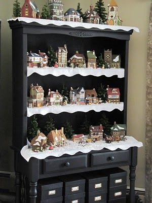 china cabinet becomes christmas village --