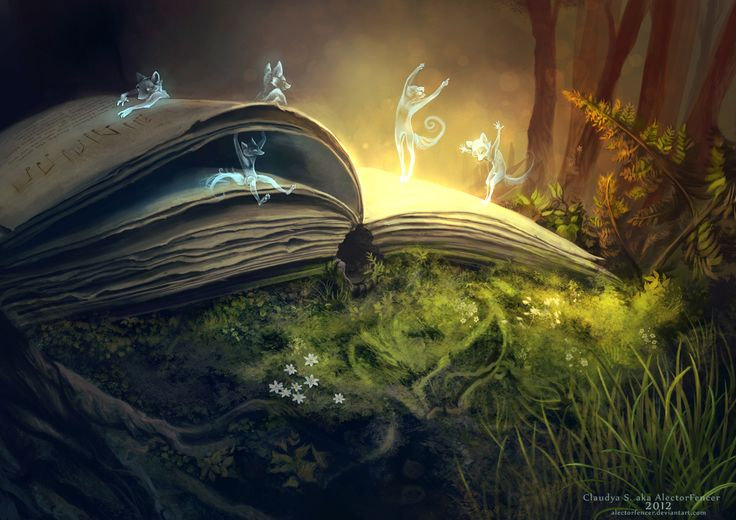 """Story Time, 2012, © Claudya S. (Artist, Germany) aka AlectorFencer via deviantart.  Digital Art / Drawings / Fantasy. """"And the little spirits of imagination dance on where they came from, and live on with every page of each chapter opened.""""  Her store: http://alector.storenvy.com/collections/142664-prints Fox spirits emerge from an open book in a glade. ... Give credit where due. Help an artist get established (It ain't that easy!) Pin from the Primary Source."""