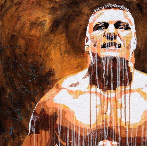 Acrylic paint on 24″ x 24″ wood    Former WWE and UFC World Champion Brock Lesnar  l #WWE