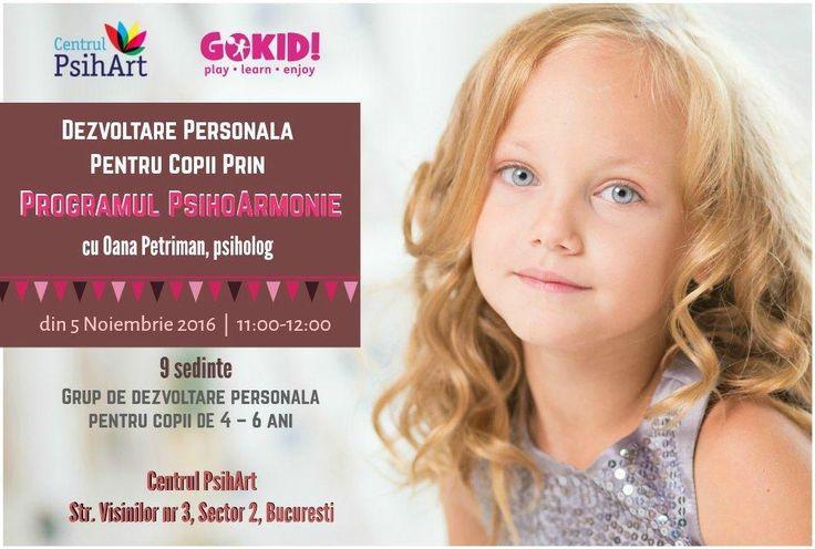 Din 5 noiembrie incepe PsihoArmonie, program de dezvoltare personală pentru copii 4-6 ani, privind dezvoltarea personalitatatii copilului.