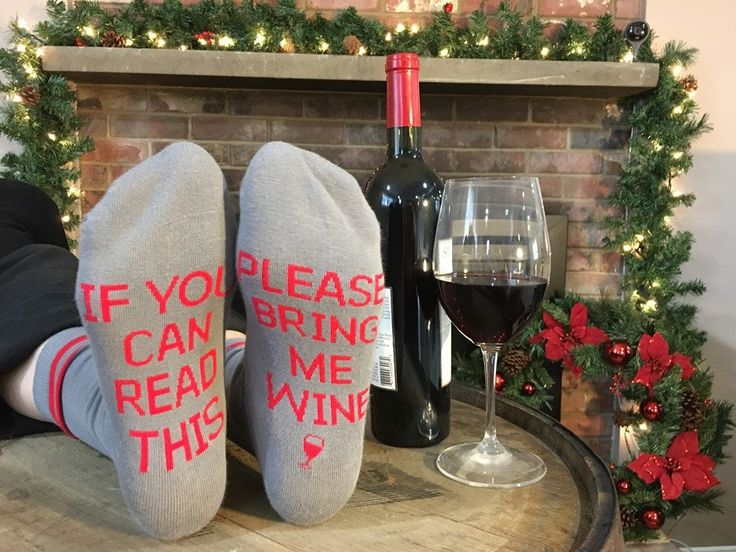 Please Bring Me Wine Socks - the socks are made with the words knit in, not printed on!
