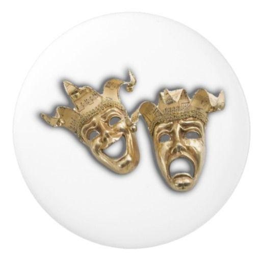 Comedy and Tragedy Theater Masks Ceramic Knob | Zazzle