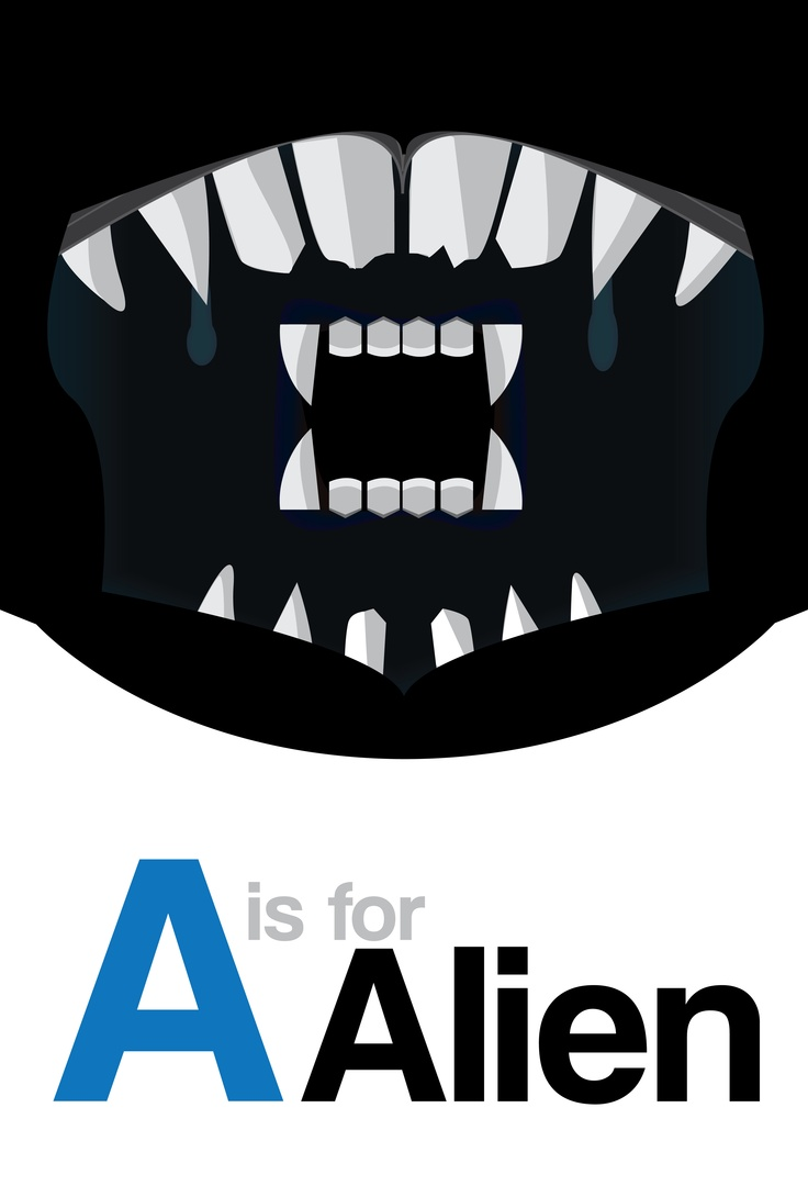 """A is for Alien"" - First in a set of flashcards to teach non-film buffs about classic films."