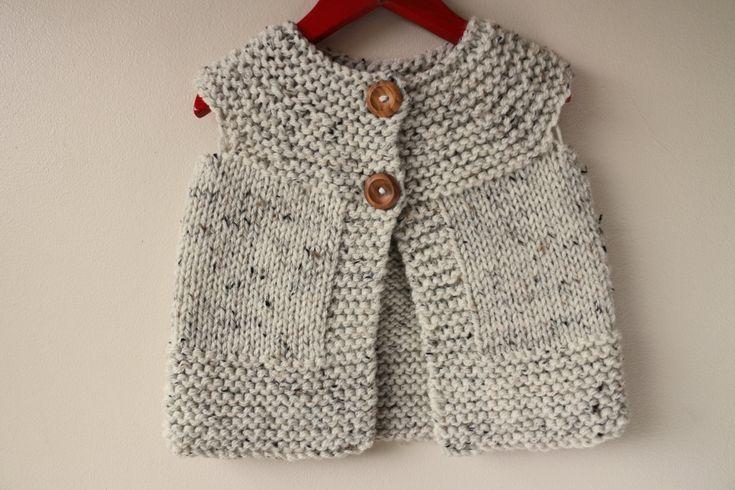 Gilet / Waistcoat / Sleeveless Sweater Knitted in Irish Aran Fleck Wool for Girl's /  Girl's Gilet, Girl's Waistcoat (3 - 4 years old) by RocoKnitwear on Etsy