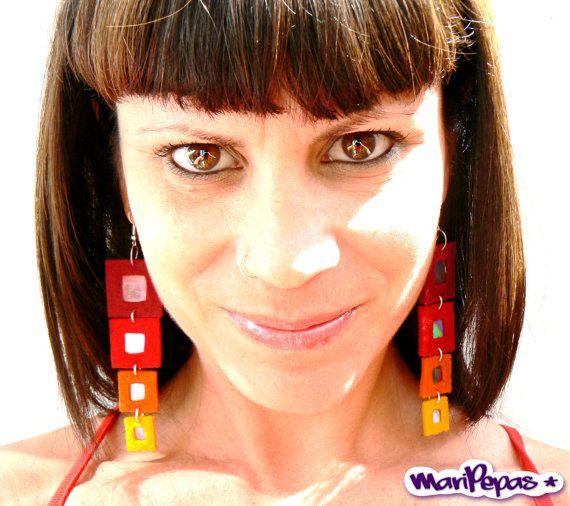 Ecofriendly earrings Felt jewelry Rainbow earrings by MariPepas, $8.00