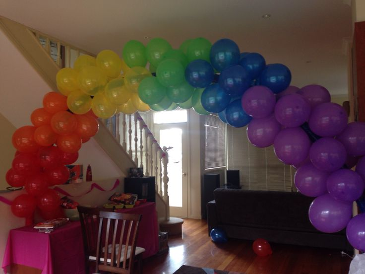 Balloon Arch Way Made By Taping Pool Noodles Together And