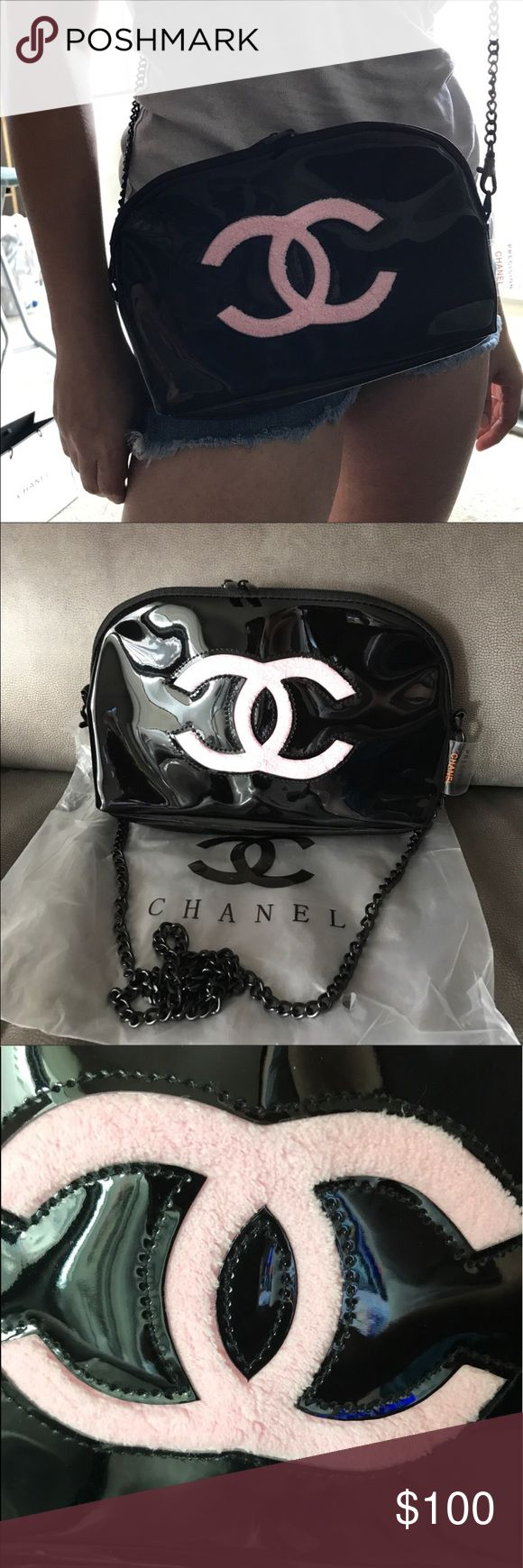 "Chanel VIP gift bag Black color with pink ""CC"" logo on front. Black metal chain,Two Zip closure, Pink satin lining. This is a VIP gift item, does not come with hologram sticker, authenticity card or tags. This Chanel VIP gift only in Asia not in US. W: 10""H: 6.5""D: 4.25"" Shoulder strap drop: 18"" CHANEL Bags Crossbody Bags"