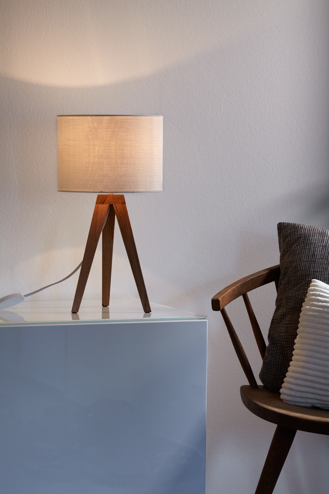 "Table lamp ""Kullen"". Made of oakwood and a offwhite textile shade"