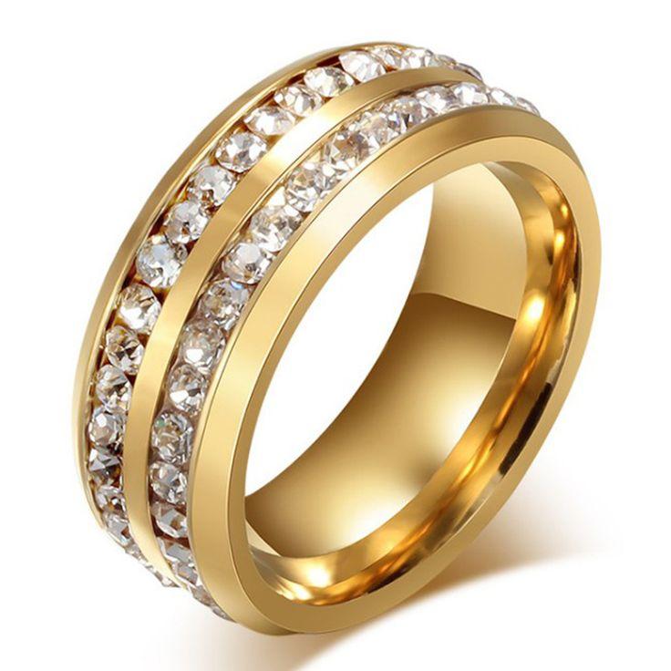 2017New Charm Goud Zilver Ring Vrouwelijke Rvs Bruiloft Verlovingsringen Voor Vrouwen Mannen Klassieke Mode-sieraden