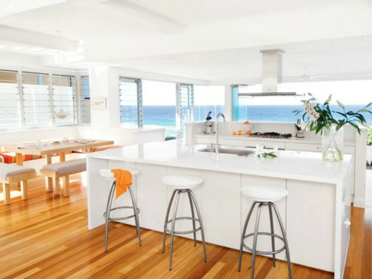 White Or Ivory Kitchen For Beach House Glossy White Coastal Modern