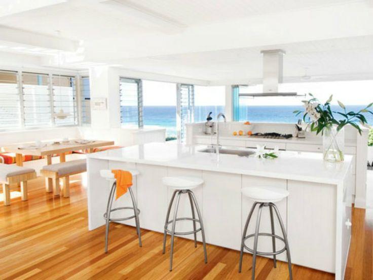 Modern coastal kitchen with an ocean view