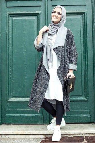 gray cardigan hijab style