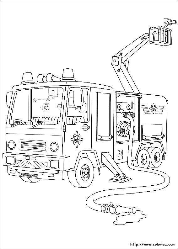 Coloriage Sam Le Pompier Jupiter In 2020 Firetruck Coloring Page Coloring Pages Fireman Sam