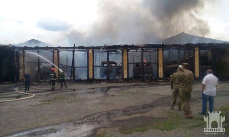 Fire at garage of military unit in Rivne is almost extinguished