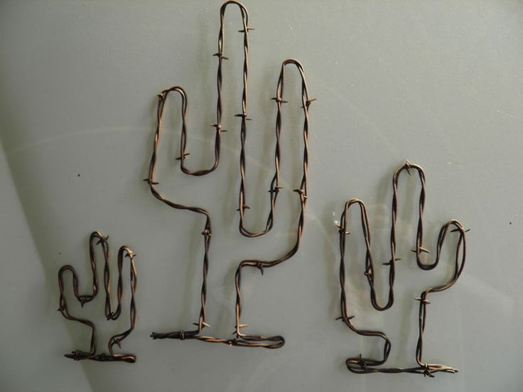 "Rusty Barb Wire 4"" 7"" & 11"" Saguaro Cactus~ Rustic Western Southwest Home Decor"
