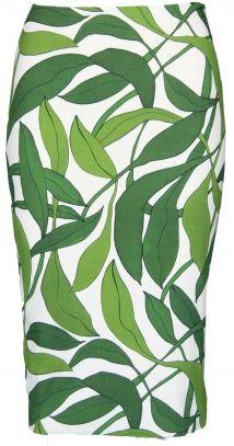 MARC CAIN skirt white green leaves print rok wit groene bladeren print