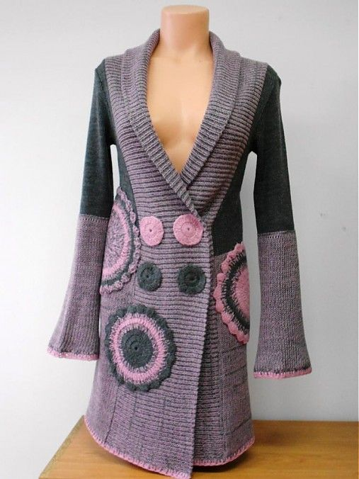 sweater with crochet appliques