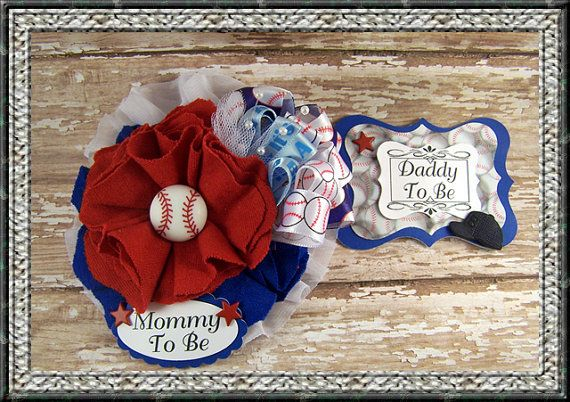 Baseball Mommy To Be and Daddy To Be Corsage Baby by BloomingParty