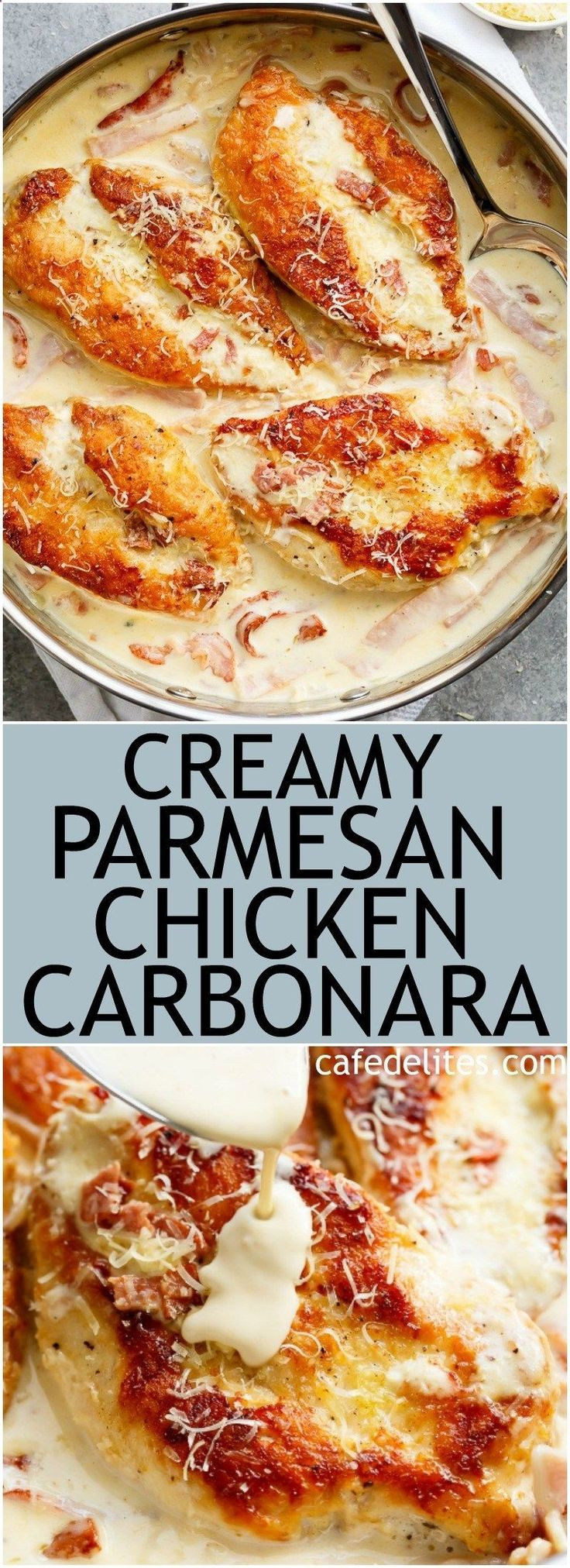 Creamy Parmesan Chicken Carbonara is the ultimate twist! Crispy, golden chicken fillets in a carbonara inspired sauce for a new favourite chicken recipe!   cafedelites.com