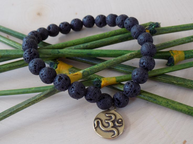 4MEN-EarthlyYoga Spirit Bracelet with Black Lava Beads and Artisan Bronze Ohm Focal Charm by pearlzsisterz on Etsy