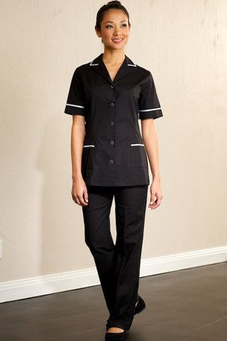 TB-FT-7-S New Sage Classic Black Housekeeping Trouser