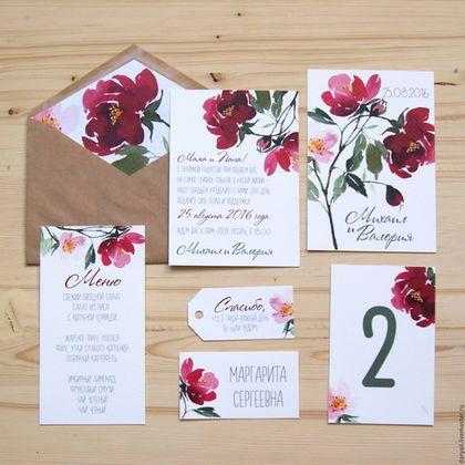 """Купить Приглашение на свадьбу """"Watercolor Flowers"""" - ярко-красный, приглашения на свадьбу, пригласительный, пригласительные открытки"""