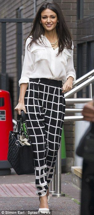 Check trousers, white shirt - Monochrome, Michelle Keegan