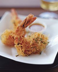 """Crispy Shrimp in Kataifi Crust Recipe on Food & Wine Joël Robuchon was inspired to create this dish after tasting a Vietnamese recipe for shrimp coated with soft vermicelli. """"But I'm much more into Mediterranean flavors at the moment,"""" he says. He also wanted a crispy crust, so instead of vermicelli he uses kataifi dough, a Middle Eastern pastry that resembles shredded phyllo."""