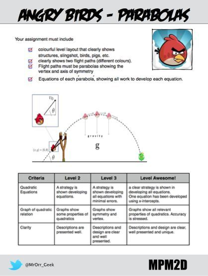 [UPDATED - Sept. 25 2015] We have just spent a week working with quadratics in MPM2D and todayI had students create their own angry birds level. The only real requirement was for them to create at...