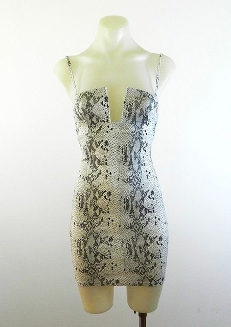 Snake Skin Print Bodycon Low Cut Dress By Luvalot