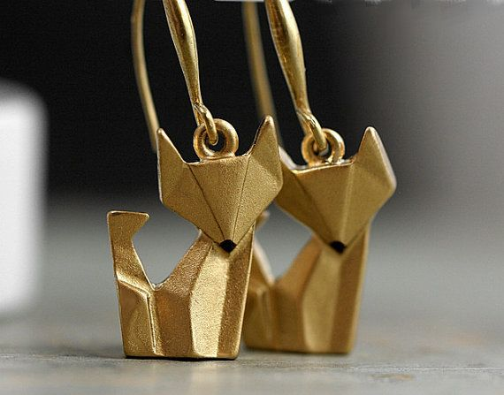 NEW: Origami Fox Earrings. Hand painted and gilded. Gold dangling earrings. Fox jewelry.