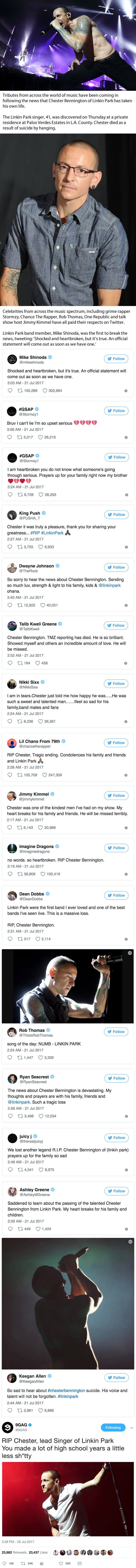 Celebrities pay tribute to Linkin Park's Chester Bennington as a legend dies aged 41