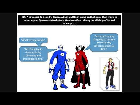 This is a light-hearted comic strip video that compares quantitative and qualitative research.  (517)