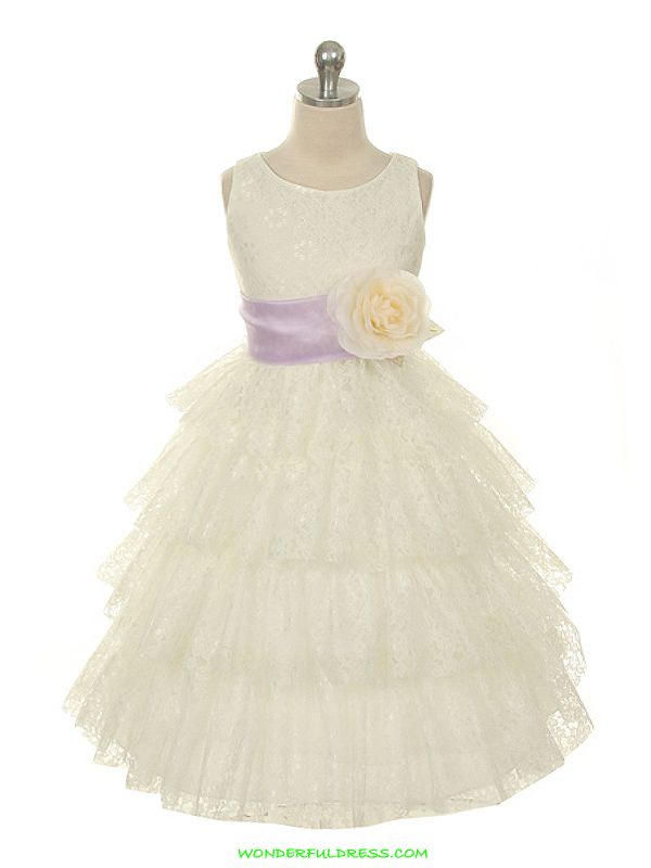 Ivory Quality Lace with Detachable Sash Girl Dress
