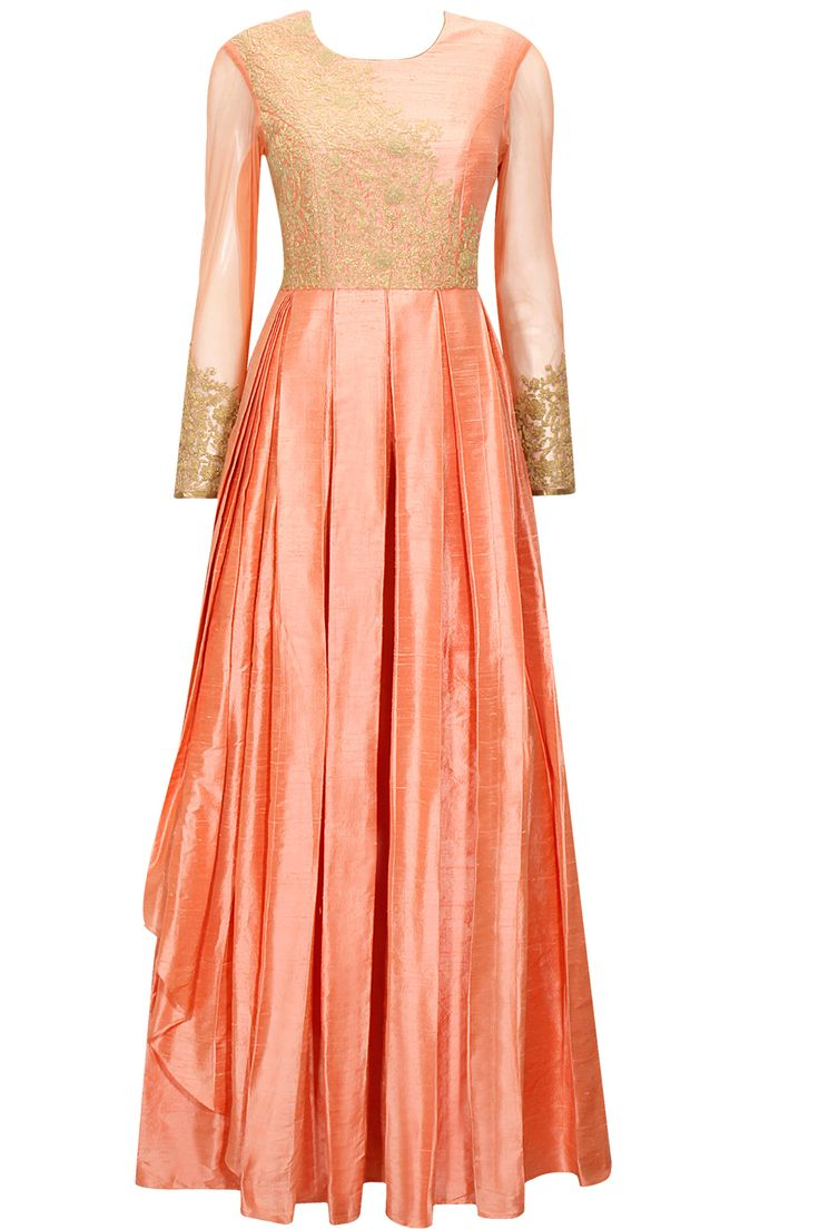 Would love to own this one! INR 26,500 Peach dori embroidered anarkali gown available only at Pernia's Pop-Up Shop.