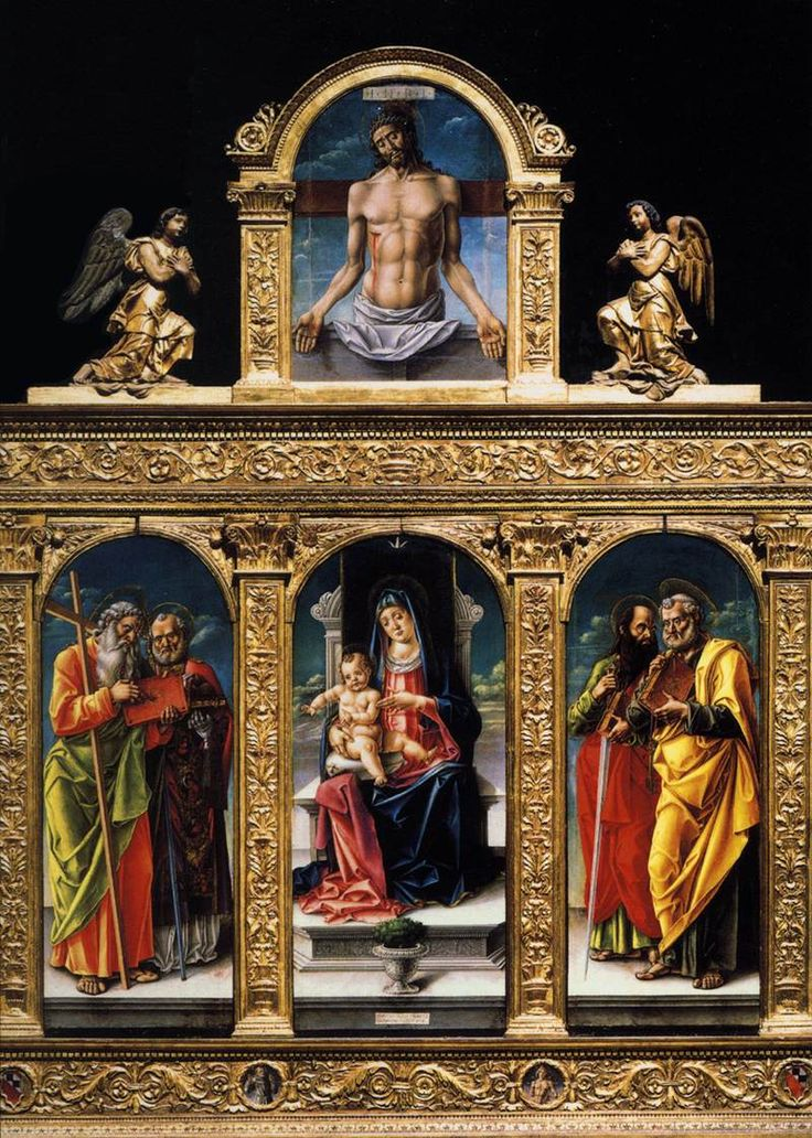 virgin enthroned 1487  Vivarini Bartolomeo . Santa Maria Gloriosa dei Frari, Venice.Renaissance frame . left panel of the polyptych depicting Sts Andrew and Nicholas of Bari, and St Paul and St Peter are on the right. After the plague of 1631, the central part came to be called the Madonna della Salute