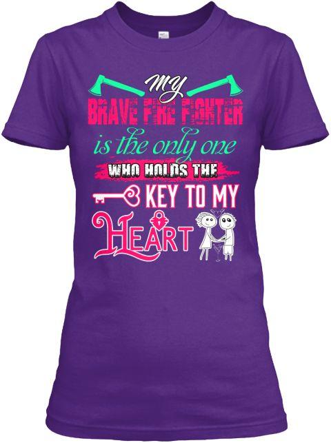 Firefighter Hold My Heart Key T Shirt Purple Women's T-Shirt Front