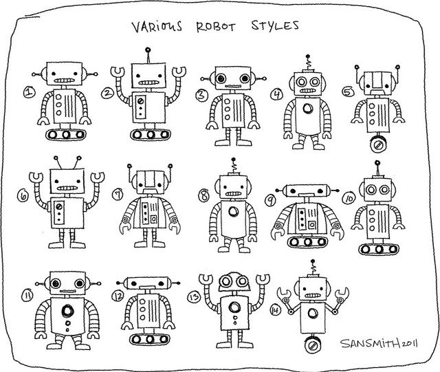 robot sketches, great ideas for arms, heads, etc
