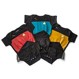Be careful, your baby may take off at warp speed while donning one of these Star Trek: TNG bodysuits with black tulle skirt. With options for Science Blue, Operations Gold, or Command Red, every future Starfleet officer can now dress the part.