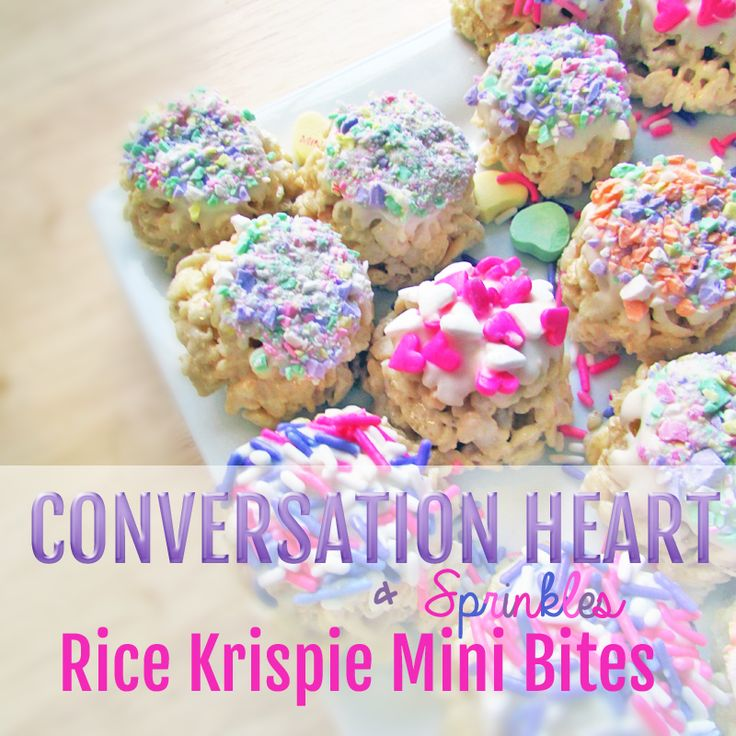 How to make Rice Krispie Mini Bites with chocolate, sprinkles and conversation heart candy. #valentinesday #easysnack #recipe