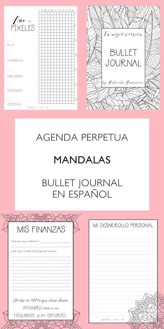 Agenda Perpetua Y Bullet Journal De Mandalas Para Colorear Planificador Imprimible En Español Bujo 2021 Planner Digital Sin Fecha Perpetuo Agendas Planificador Imprimible Planificador